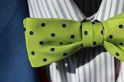 Bow Tie Club Gent's Light Green Dotted Adjustable Pre-Tied Silk Bow Tie - USA