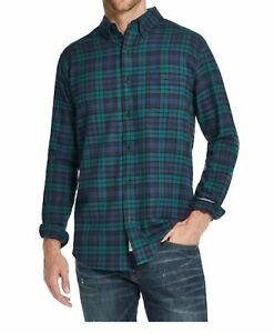 Weatherproof Mens Shirt Blue Green Size L Button Down Brushed Plaid $55 268