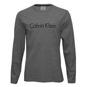 Calvin-Klein-Manga-larga-cuello-redondo-logotipo-de-Jersey-para-Hombres-Camiseta-Gris-Heather
