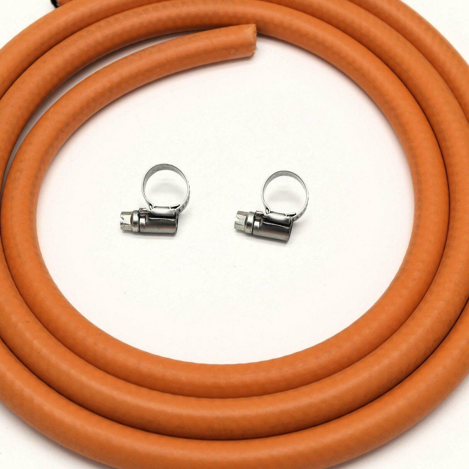 2m 8mm I/D LPG Butane/Propane Gas Hose Withe 2 Stainless band Hose Clips