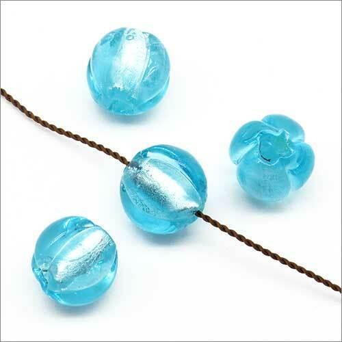 Lot de 10 Perles Rondes en Verre Lampwork Feuille d'Argent 10mm Bleu clair