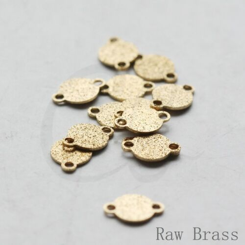 CW-3705C-V-233 100 Pieces Raw Brass Textured Links-Round-Flat Coin 7.8x5.5mm