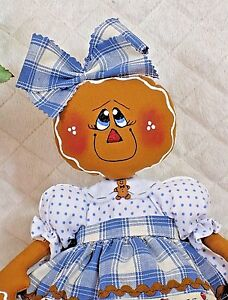 "Primitive Raggedy 12"" GiNgErBrEaD DoLL w/rolling pin ornie~LittLe CuTiE!"