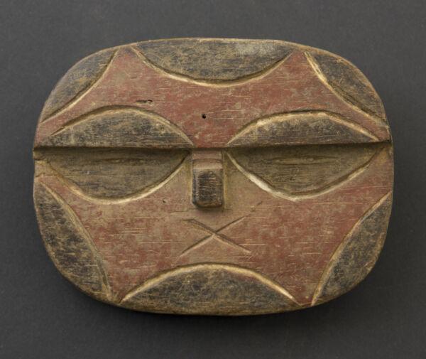 Masquette Maschera Passaporto Africano Teke Kidumu Legno 12cm Arte Primitivo Gli Ordini Sono Benvenuti