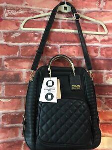 top quality dependable performance on feet shots of Details about 😍 Miztique Woman's Black Vegan Leather Convert Backpack Into  A Shoulder Bag