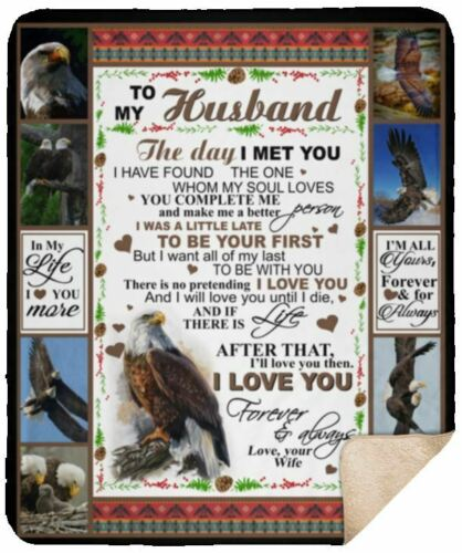 50x60 Eagle To My Husband I Love You Forever /& Always Sherpa Blanket