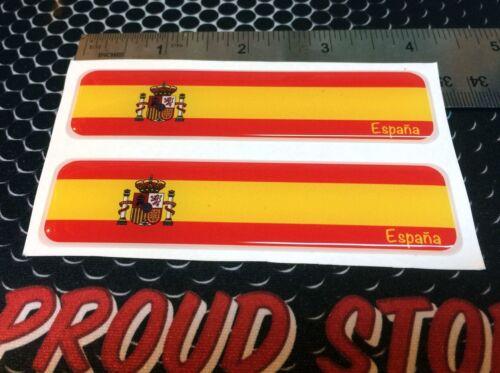 "Spain España Proud Flag Domed Decal Emblem Car Flexible 3D 4/""x1Set of 2 Stickers"
