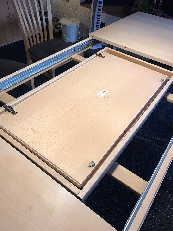 Spisebord m/stole, Sæbebehandlet eg, b: 90 l: 180