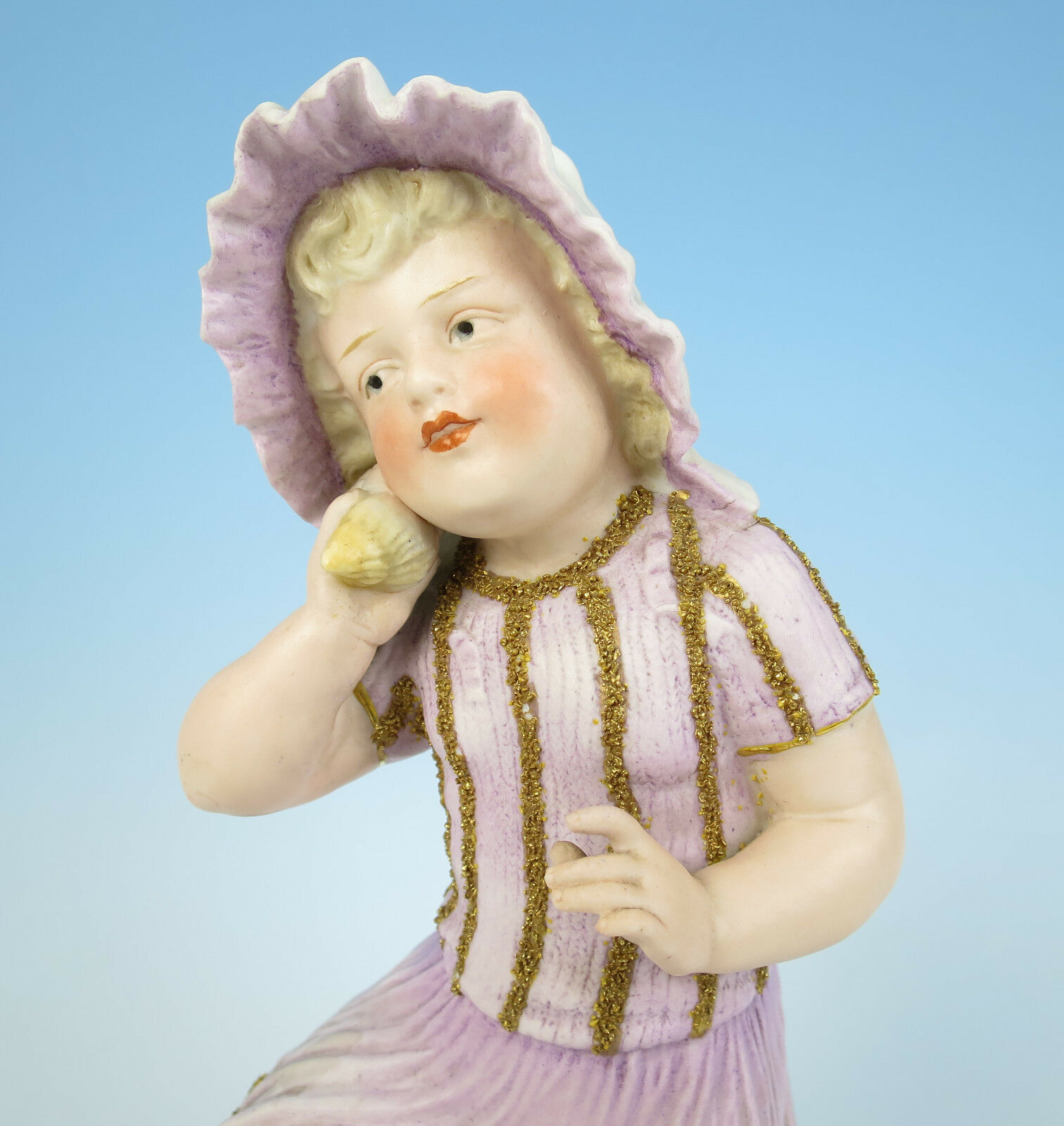 Heubach Large 12  Bisque Shell Girl Figurine Piano Baby Antique German Porcelain