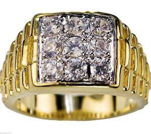 4.2 Carat 9 Pierre Tapis Rouge Homme Cz Ring 18k or Revêtement Taille 10 kXatGHPj-09153610-150834335