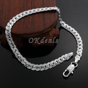 Women-Men-Top-Sale-Bracelet-Bangle-5MM-Silver-Plated