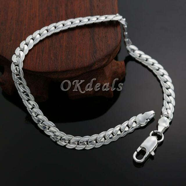Women Men Top Sale Bracelet Bangle 5MM Silver Plated