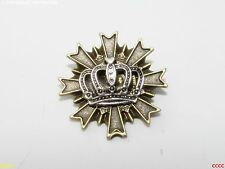 steampunk goth brooch badge silver crown royal regal larp cosplay