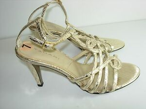 WOMENS-GOLD-T-STRAP-ANKLE-SANDALS-COMFORT-STRAPPY-WEDDING-HEELS-SHOES-SIZE-7-M