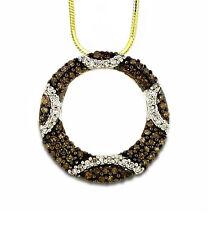 Fabulous! 10K Yellow Gold Chocolate Brown & White Diamond Circle Pendant .40ct