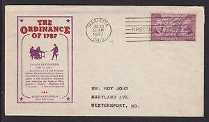US-Planty-795-35-FDC-1937-3c-Ordinance-of-1787-Marietta-F-D-X-Cachet-Craft