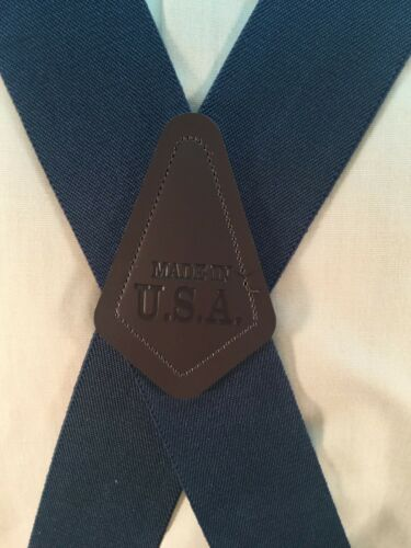 """Twin Pin Clip Suspenders 2/"""" New Made in the USA Large Adj Men/'s Navy Blue"""