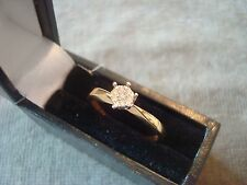 LADIES .750 18CT YELLOW GOLD DIAMOND RING 1.8g SIZE N BOXED REF 1928