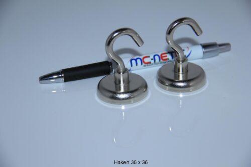 4 Stück Neodym Magnethaken Haken Magnete 36 mm vernickelt Stahl sehr stark