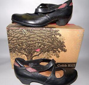 NEW-Womens-Cobb-Hill-Avery-Size-9-Medium-Black-Leather-Mary-Jane-Heels