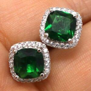 Large-1Ct-Princess-Green-Emerald-Earrings-Women-Birthday-Jewelry-14K-White-Gold
