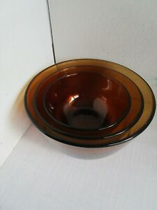Vintage-Set-of-3-Anchor-Hocking-Fire-King-Amber-Nesting-Mixing-Bowls-EUC