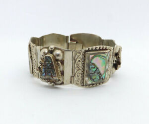 Vtg-Taxco-Mexico-Sterling-Silver-Abalone-Inlay-Mask-Design-Panel-Link-Bracelet
