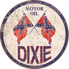Dixie Gas Weathered Round Vintage Retro Metal Tin Sign Motor Oil Garage Decor