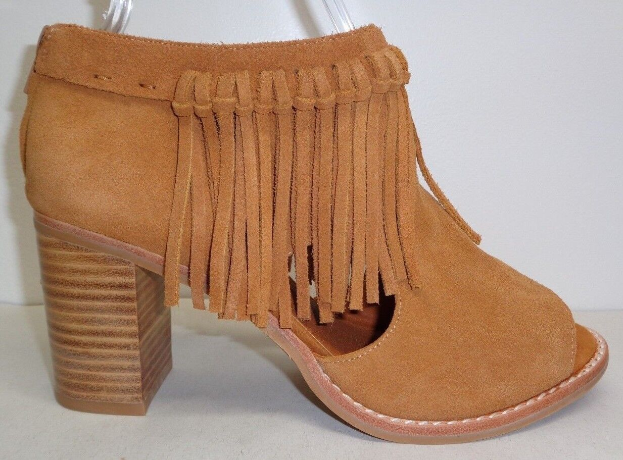Sbicca Size 6 HICKORY Tan Suede Fringe Trimmed Heels Booties New Donna Shoes