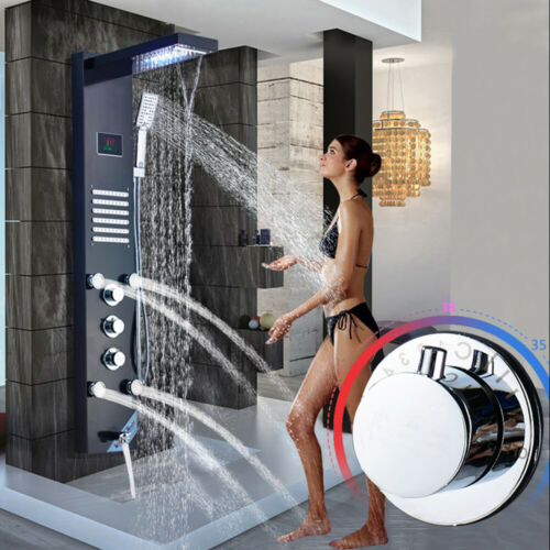 Shower Panel System Water Tower LED Temperature Hand Shower Massage Jets Waterfall