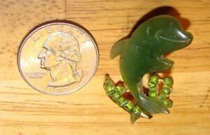 Vintage  Jade  Dolphin  Pin SWO Inc. In Great Shape  Aliz