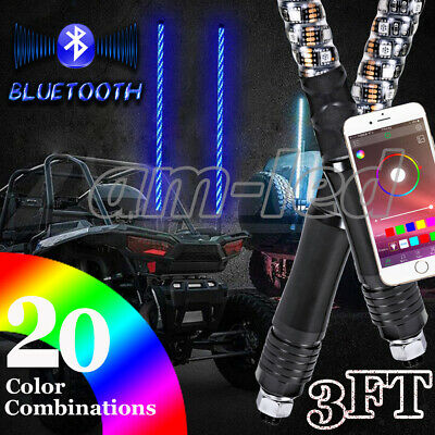Pair of 3ft LED Whip Lights Remote Controlled Wrapped Spiral for Polaris RZR ATV