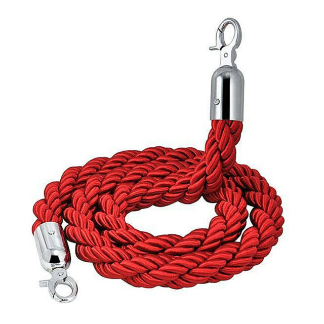 Quality 1.5m long Twisted Queue Barrier Rope Red for Posts Stands G2Y1 D1V9