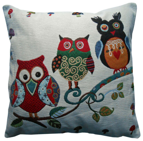 Ex-Chainstore 3 Colourful Owls Woven Design Cushion Covers