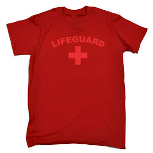 Funny-Novelty-T-Shirt-Mens-tee-TShirt-Lifeguard-Red