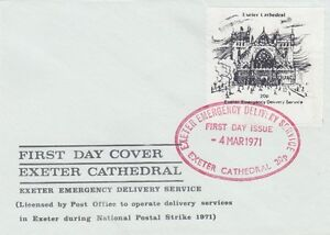 GB-1971-EXETER-Cathedral-20p-First-day-of-issue