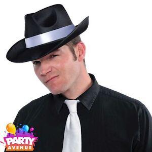 c5073cca545 Gangster Trilby Al Capone Hat Black Mob Boss Mafia Fancy Dress ...