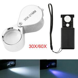 30X/60X Magnifying Glass Light Jeweller Magnifyer Loop Optical Loupe Eye Lens UK