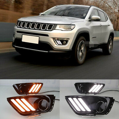 Fit For 2017-2018 Jeep Compass Front LED Daytime Running Lights DRL Turn signal