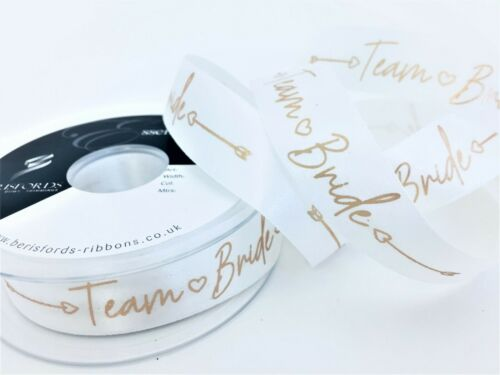 Berisfords équipe Mariée Enterrement Vie Jeune Fille Blanc /& or rose ruban satin 25 mm x 1 m