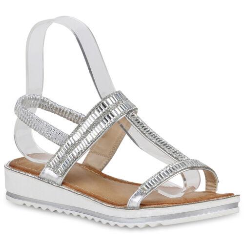 Damen Keilsandaletten Bequeme Sandaletten Wedges Metallic 821049 Trendy Neu