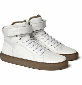 40a99e2568d70 Yves Saint Laurent White Men s Leather High Top Sneakers Size 41
