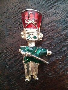 #VINTAGE Enamel Toy Soldier Christmas Pin Brooch