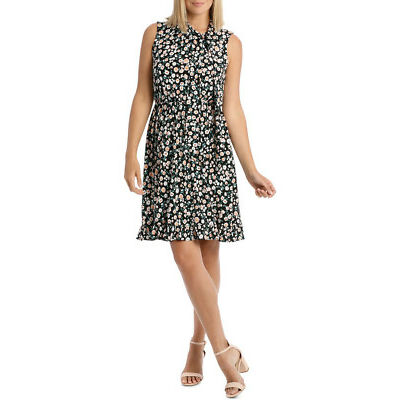 NEW Leona by Leona Edmiston Black Falling Daisy Side Tie Dress Assorted