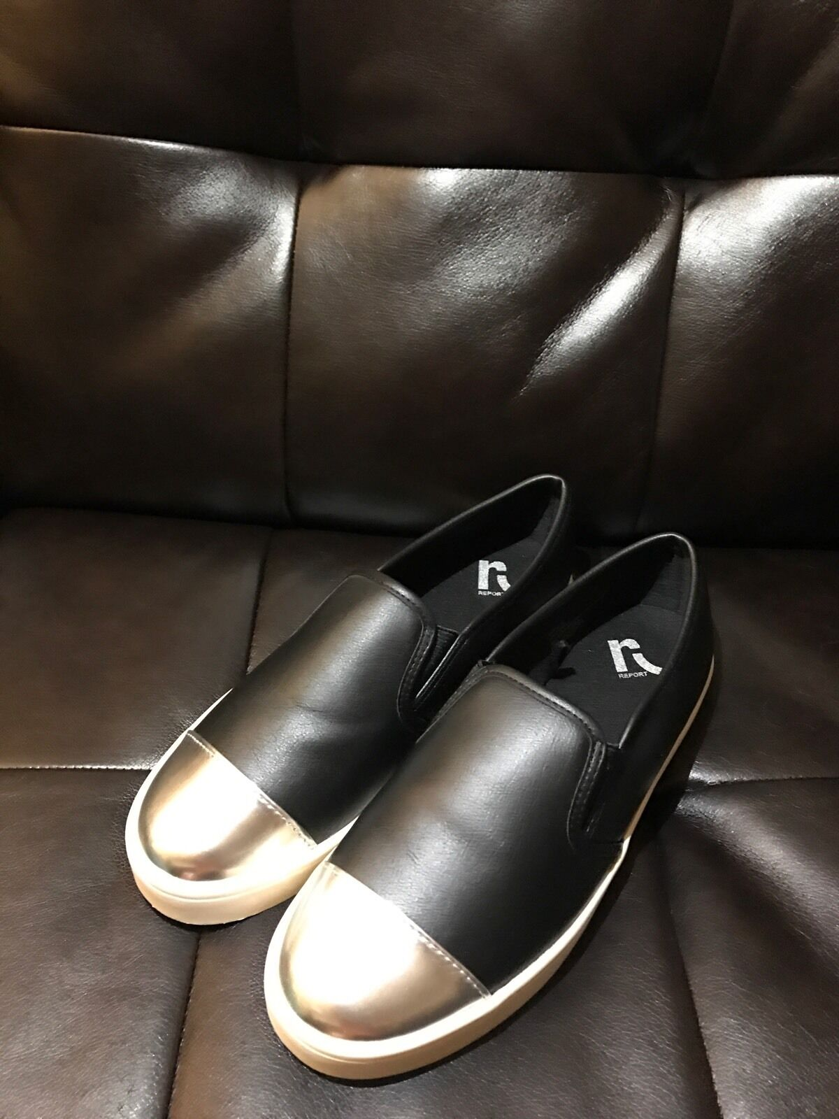 Auth REPORT Black Silver Leather Slip On Loafer Sneakers Flats 10 fits 9.5 10