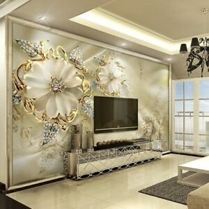 Details About 3d Gold Flower Diamond Modern Bling Wall Mural Wallpaper Living Room Bedroom