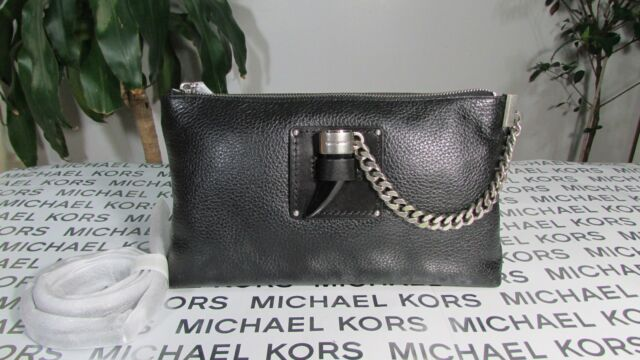 123d6f150ebb NWT Michael Kors Leather James Large Zip Clutch or Crossbody Bag Black