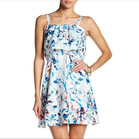 NWT  Parker Nia bluee Catalonia Floral Tie Strap Summer Silk Sundress Dress S