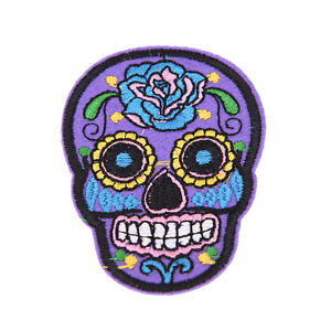 8Pcs-SKULL-WITH-FLOWERS-Small-Embroidered-Iron-On-sew-On-Patch-LS