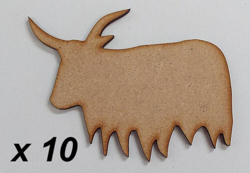 Pack of 10 ~ 50mm High HQ MDF Highland cows 3mm thick MDFembelishment #03